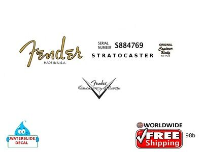 Fender Stratocaster Guitar Headstock Decal Restoration Waterslide Inlay logo 98b