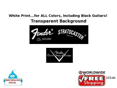 Fender Stratocaster Guitar Headstock Decal Restoration Waterslide Inlay 101wb