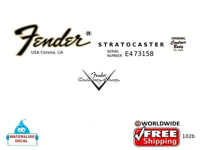 Fender Stratocaster Guitar Headstock Decal Restoration Waterslide Inlay 102b