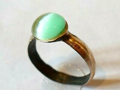 Detector Find & Polished,200-400 A.d Roman Bronze Ring With Real Gem Stone