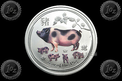 AUSTRALIA $1 DOLLAR 2019 (LUNAR II - Year of the PIG) COLORED 1oz SILVER coin BU