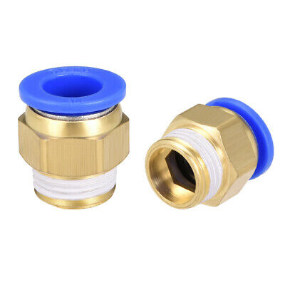 """2 Pcs 1/2"""" G Male Straight Thread 14mm Push In Joint Pneumatic Quick Fittings"""