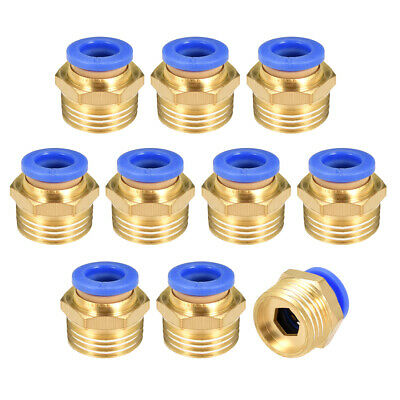 "10 Pcs 3/8"" G Male Straight Thread 8mm Push In Joint Pneumatic Quick Fittings"