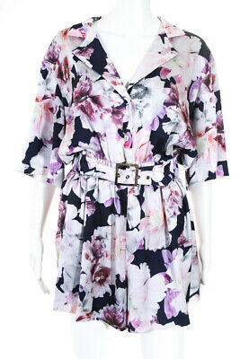 60fe5ac9d14 Cynthia Rowley Women s Rose Floral Romper White Blue Pink Size 10 11176592