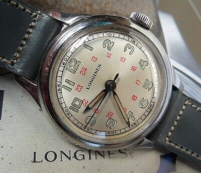 Vintage S/S 1940's Men's Longines 24 Hour Dial Swiss Military Style Watch Runs