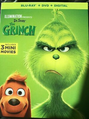 NEW -  Dr Seuss The Grinch( Blu-Ray + DVD + Digital) with slipcover