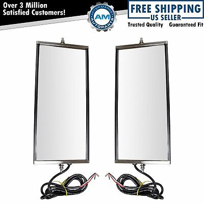 West Coast Mirror Signal Heated 16x7 Stainless Steel Pair for Heavy Duty Truck