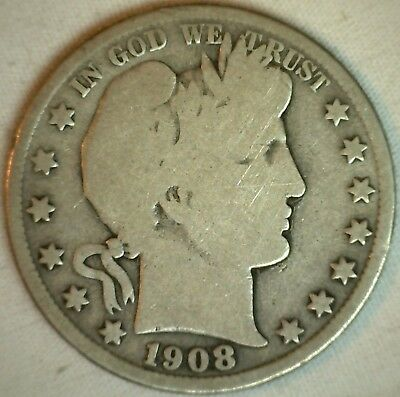 1908 D Barber Silver Half Dollar 50 Cent US Type Coin Good K