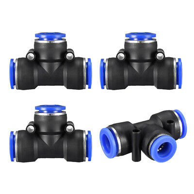"4pcs Push to Connect Fittings T Type 15/32"" -25/64"" od Tube Fittings Blue"