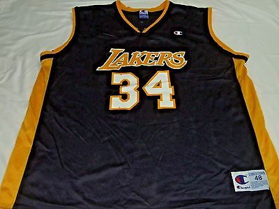 e8b1a379285 Los Angeles Lakers Shaquille O  Neal NBA Champion Black Jersey 48 34 XL Shaq