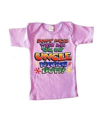 6-12 M Cute Funny Infant Tee My Uncle Kicks Butt Baby Shower Gifts