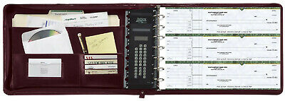 7 Ring Check Binder 3-On-A-Page Zippered Leather Look  Portfolio Burgundy