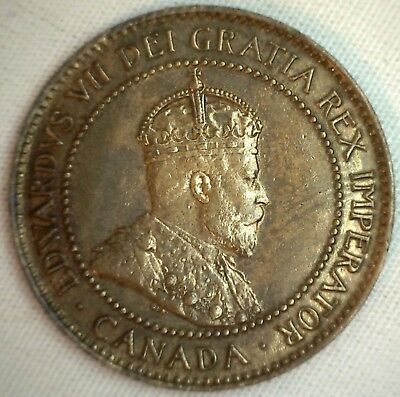 1906 Copper Canadian Large Cent Coin 1-Cent Canada AU #8