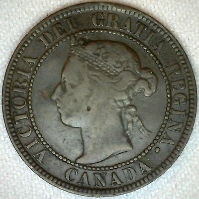 1893 Bronze Canadian Large Cent Coin One Cent Canada Fine 1c K321