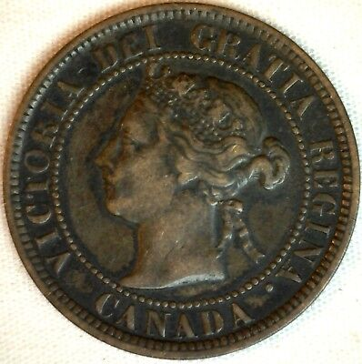 1884 Copper Canadian Large Cent One Cent Coin Very Fine #20