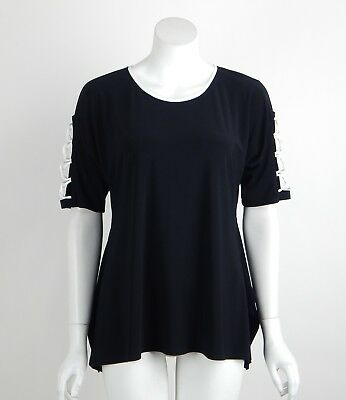 Joseph Ribkoff Tunic Top Black Off-White Round Neck Crossover Sleeves Size 8 New