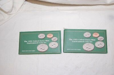 2-1993 US Mint Uncirculated P&D Coin Sets & Dime (10 Coins per set) Original Pkg