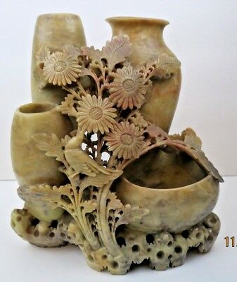 "8"" Antique Carved Soapstone Chinese Incised Brush Pot Triple Vase Bird Flowers"