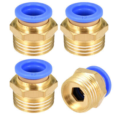 "4 Pcs 1/2"" G Male Straight Thread 12mm Push In Joint Pneumatic Quick Fittings"