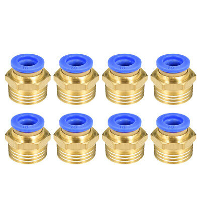 "8 Pcs 1/2"" G Male Straight Thread 10mm Push In Joint Pneumatic Quick Fittings"