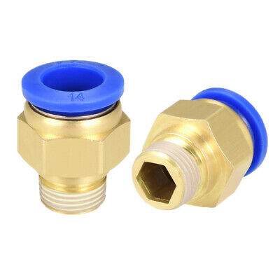 """2 Pcs 3/8"""" G Male Straight Thread 14mm Push In Joint Pneumatic Quick Fittings"""