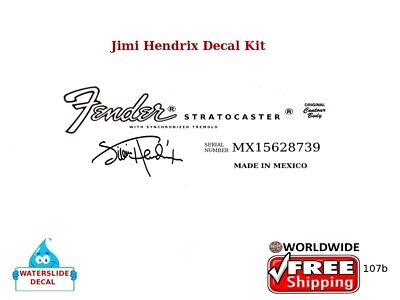 Fender Stratocaster Jimi Hendrix Guitar Headstock Waterslide logo Decal 107b