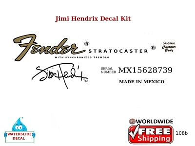 Fender Stratocaster Jimi Hendrix Guitar Headstock Waterslide logo Decal 108b