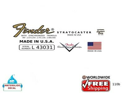 Fender Stratocaster Guitar Headstock Waterslide logo Inlay Decal 110b