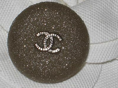 Chanel Silver Metal Cc Logo Front Taupe  Button 20 Mm /  Under 1'' New