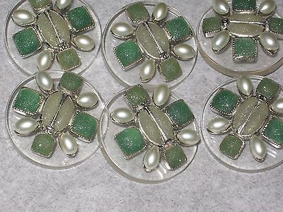 Chanel 6 Metal Cc Logo Front  Green Glass Pearl Button  32Mm / 1 1/4'' New