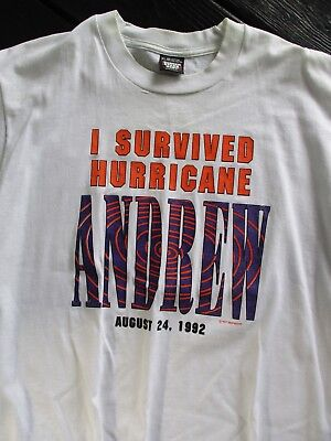 2625de7f Hurricane Andrew 1992 I survived vintage excellent white graphic t-shirt XL