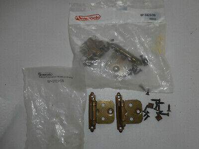 "2 Pair Vntg Amerock BP3429BB 2-3/4"" Burnished Brass Self-Closing Cabinet Hinges"