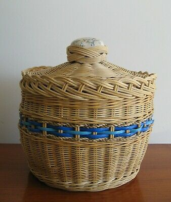 Vintage CANE SEWING BASKET Floral Lined Fabric LARGE Two Tier