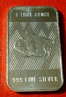 American Buffalo & Indian Bullion Bar by RMC 1 Troy oz..999 Fine Silver