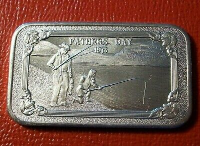 Fathers Day 1973 Art Bar by Mother-Lode Mint 1 Troy oz .999 Fine Silver  Nice