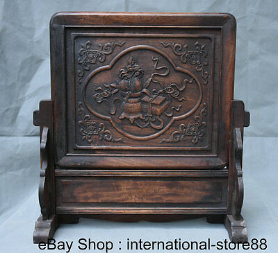"""17.2"""" Rare Old China Huanghuali Wood Carving Palace Flower Base Folding Screen"""