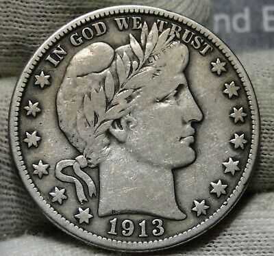 1913D Barber Half Dollar 50 Cents - Key Date 534,000 Minted, Free Shipping(7976)