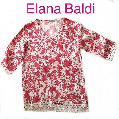 24880ca14fc9d Elena Baldi Made In Italy 100% Linen Pink   White Floral Tunic Blouse Top  size