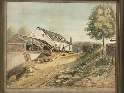 19th Century American Folk Art Watercolor Painting A Sawmill Factory Landscape