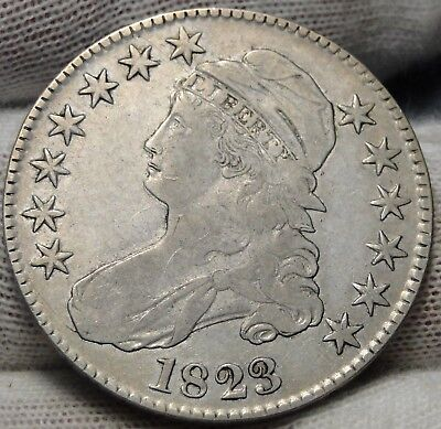 1823 Capped Bust Half Dollar 50 Cents - o-107 R2, Nice Coin Free Shipping (5329)