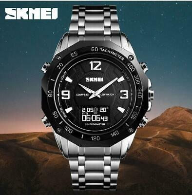 SKMEI Mens Digital Quartz Wrist Watch Sport Waterproof LED Stainless Steel UK