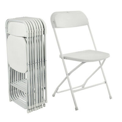 New Hot Folding Chair White Plastic Seat Lightweight 10pcs Event Indoor Outdoor
