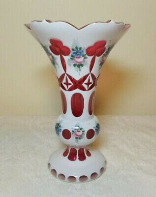 Bohemian Cased Glass White Hand Painted Floral Cut to Ruby Glass Vase