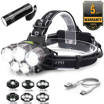 Bright 90000LM 5X XM-L T6 LED Headlamp Rechargeable Headlight Flashlight Torch