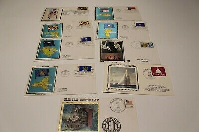 1975-83 USA SILK COVERS x9 - AMERICAN REVOLUTION,OPERATION SAIL,STATE COVERS