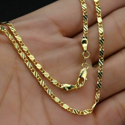 18K Yellow Gold Plated 2mm Rope Chain Choker Necklace Men Women Fashion Jewelry