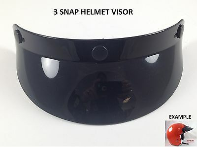 3 Snap Helmet Visor Sun Shield Vintage Motocross Motorcycle Fits HJC Shoei 3/4