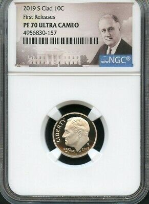 2019 S Clad Roosevelt Dime First Releases NGC PF70 Ultra Cameo (Portrait)