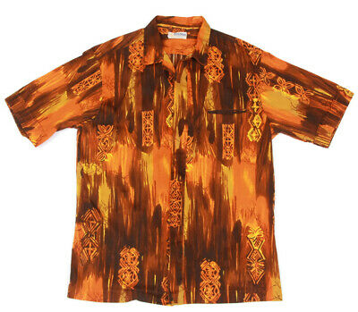 223fc2cf ANDRADE Vintage Tiki Hawaiian Orange Brown Barkcloth Aloha Mens Shirt size L