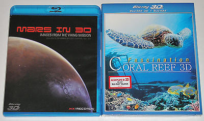 Blu-ray 3D Lot - Mars in 3D (Used) Fascination on Coral Reef 3D (New)